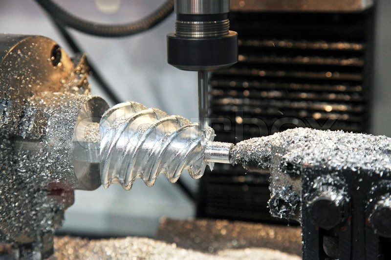 Milling Complex Spiral Parts On Cnc Lathe Stock Photo