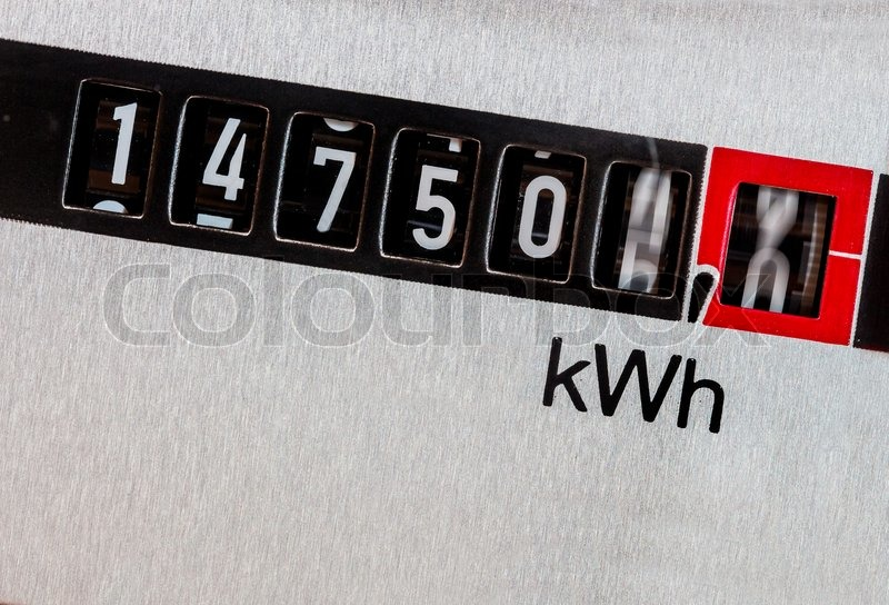 An electricity meter measures the electricity consumed. save symbolic photo for current price and current, stock photo