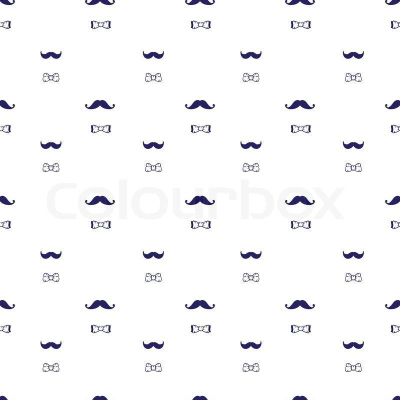 Stock vector of 'Vector hand drawn hipster seamless pattern in doodle style. Mustache and bow-tie seamless pattern'