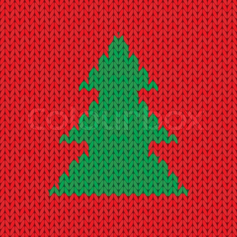 Christmas Knitting Background : Christmas knitted background with tree vector