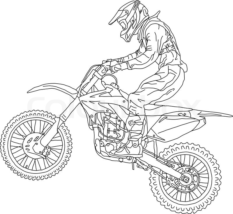 Silhouettes Motocross Rider On A Stock Vector