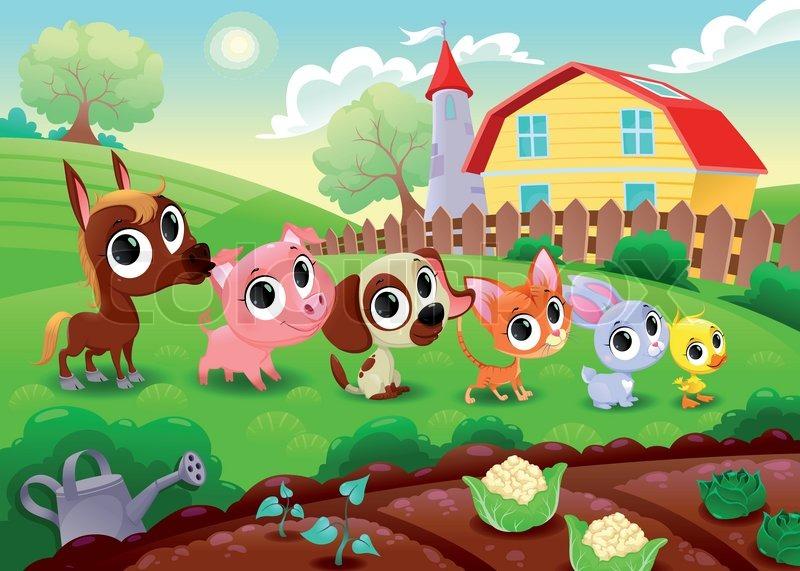 11903788 funny farm animals in the garden