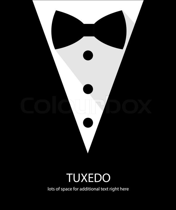 black and white bow tie tuxedo illustration flat long shadow | stock