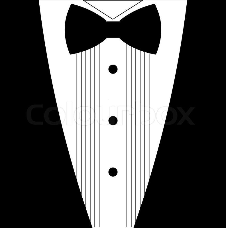 flat black and white tuxedo bow tie illustration | stock vector