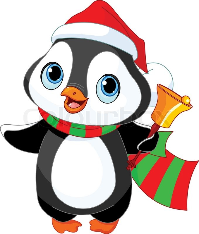 Cute Christmas Penguin With Jingle Stock Vector