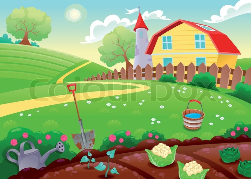 Funny countryside scenery with vegetable garden. Cartoon vector ...