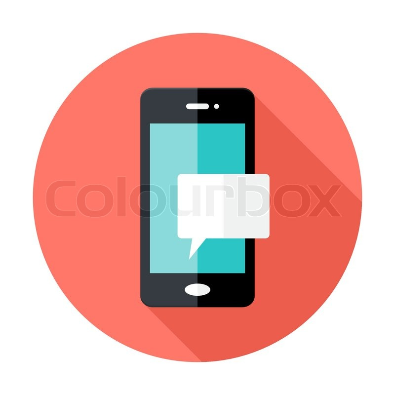 Illustration Of Smartphone Notification Flat Circle Icon