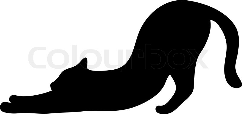 cat stretches the entire body silhouette in black stock vector rh colourbox com cat face silhouette vector sitting cat silhouette vector