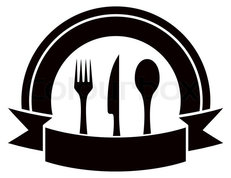 Black restaurant invitation icon with table ware and tape stock black restaurant invitation icon with table ware and tape stock vector colourbox stopboris Images