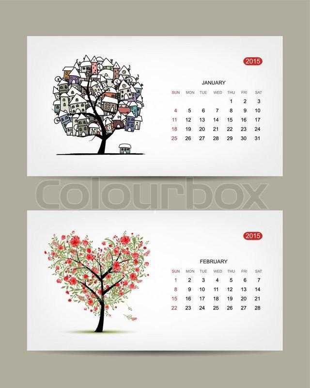 Calendar Art : Vector calendar january and february months art