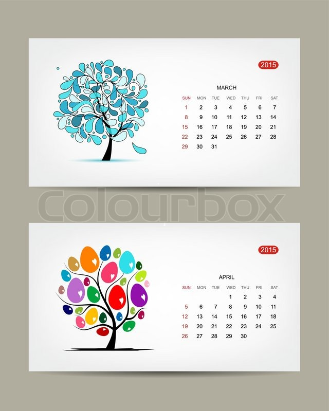 Calendar Artwork : Vector calendar march and april months art tree