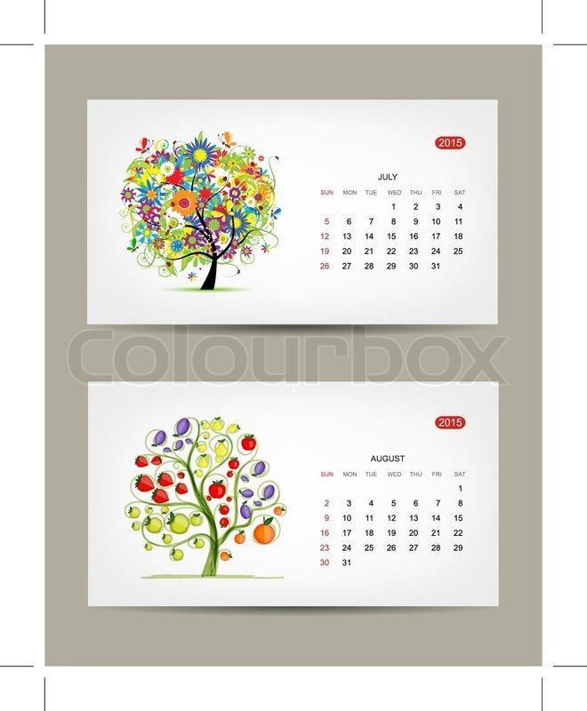 Calendar 2015 July And August Months Art Tree Design Vector