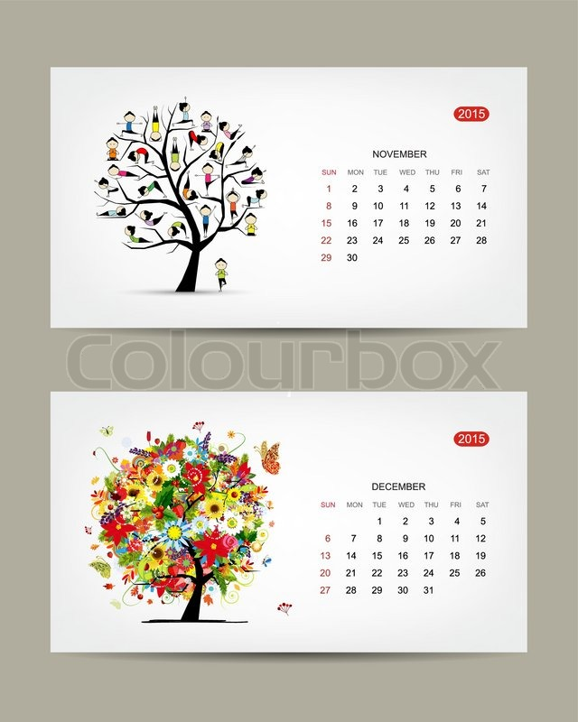 December Calendar Art : Calendar november and december months art tree