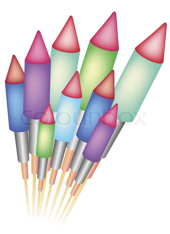 Clipart, Silvester, Feuerwerk