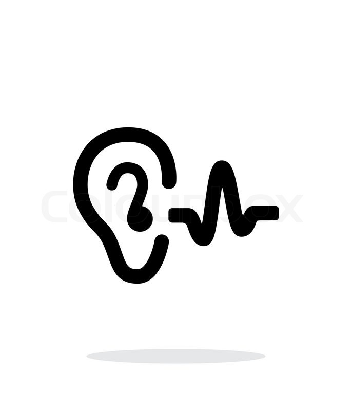 Ear hearing sound icon on white background. Vector ...