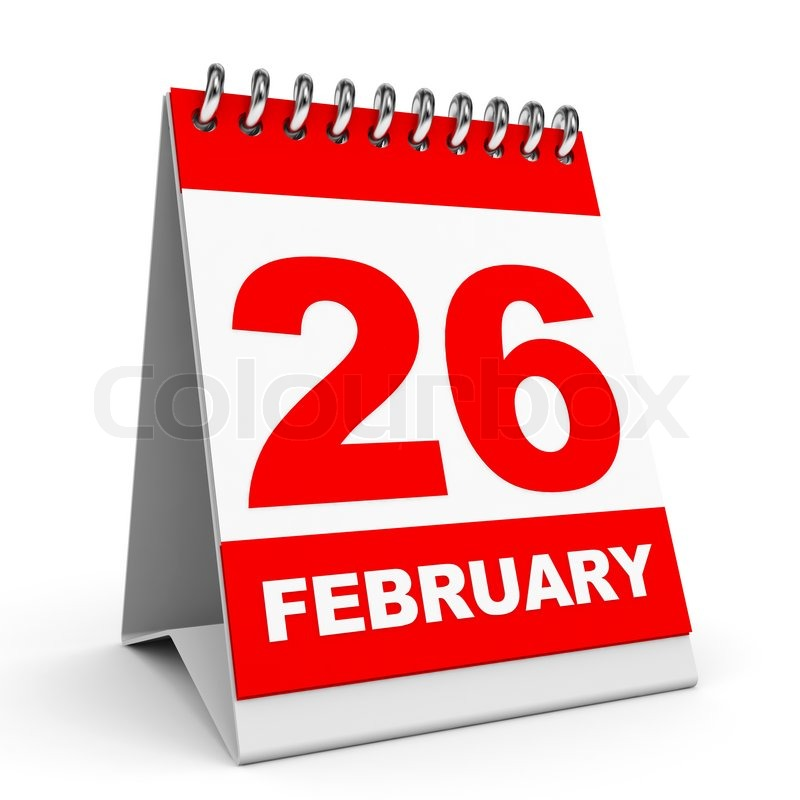 Calendar On White Background February D Illustration - 26 feb