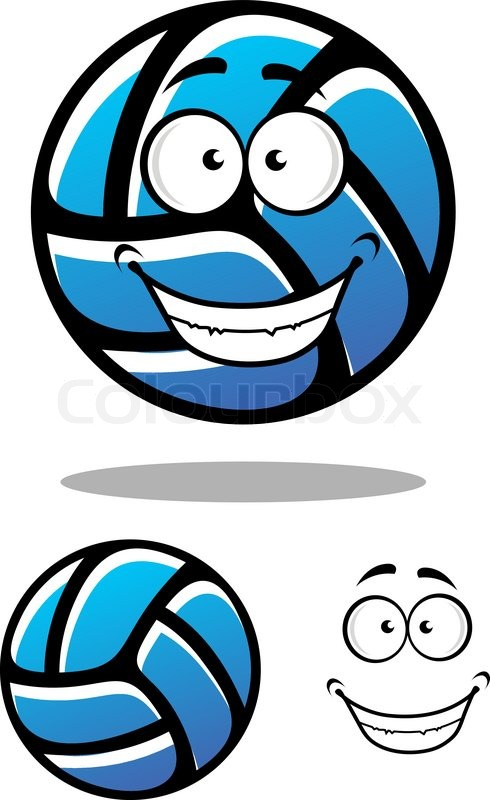 Cartoon Blue Volleyball Ball Character With Smiling Face