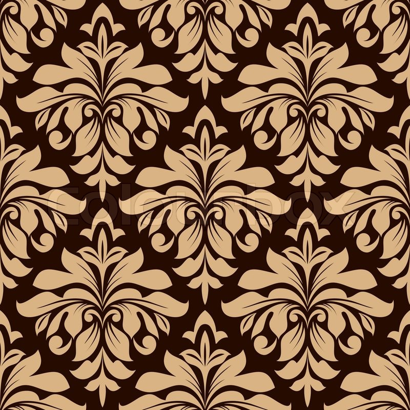 Light brown floral seamless pattern on dark brown ...