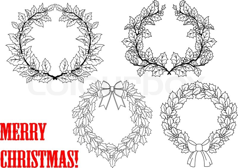 Christmas Outline Holly Round Wreaths Set For Holiday Design With Leaves Berry And Ribbons