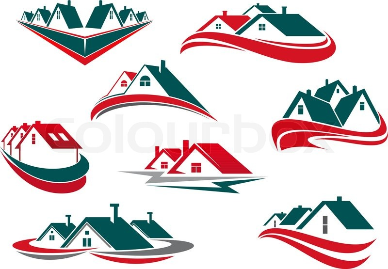 Real Estate And House Icons Or Symbols For Business Or Construction