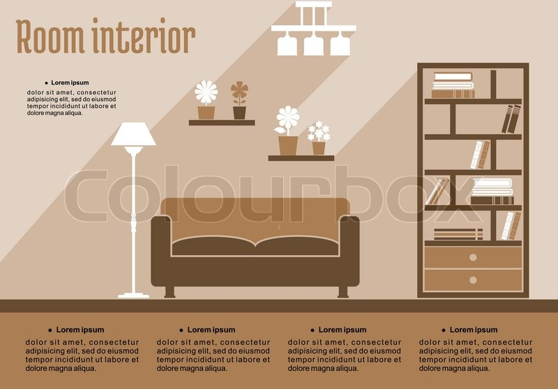 Brown living room interior in flat style for house for Interior design room layout template