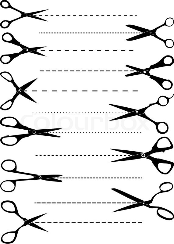 Set Of Scissors For Template Or Coupon Design Stock Vector Colourbox