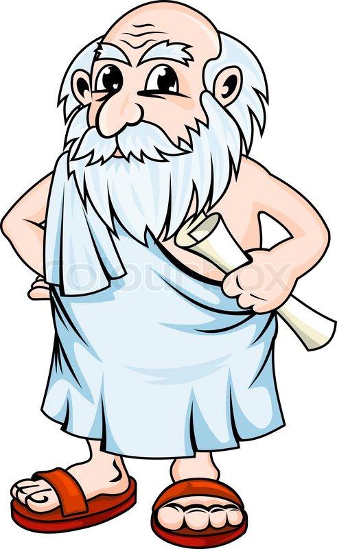 Ancient greek philosopher in cartoon ... | Stock Vector ...
