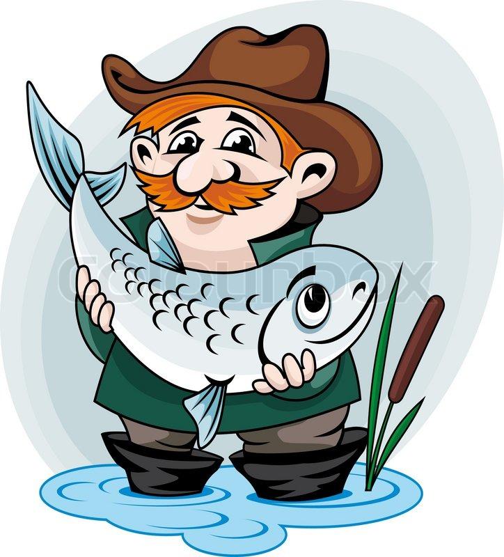 Fisherman Catch Big Fish Vector Stock Vector Colourbox