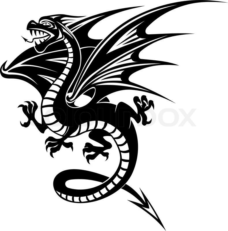 Black Danger Dragon Isolated On White Stock Vector