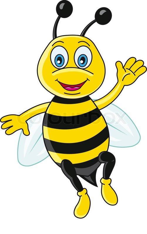 Funny bee in cartoon style. Vector illustration | Stock ...