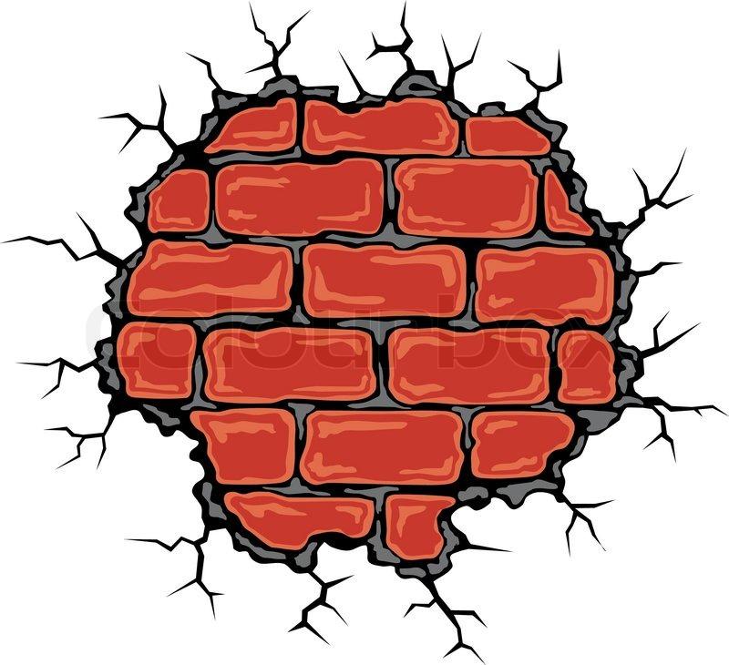cracked birck wall in cartoon style vector illustration stock rh colourbox com