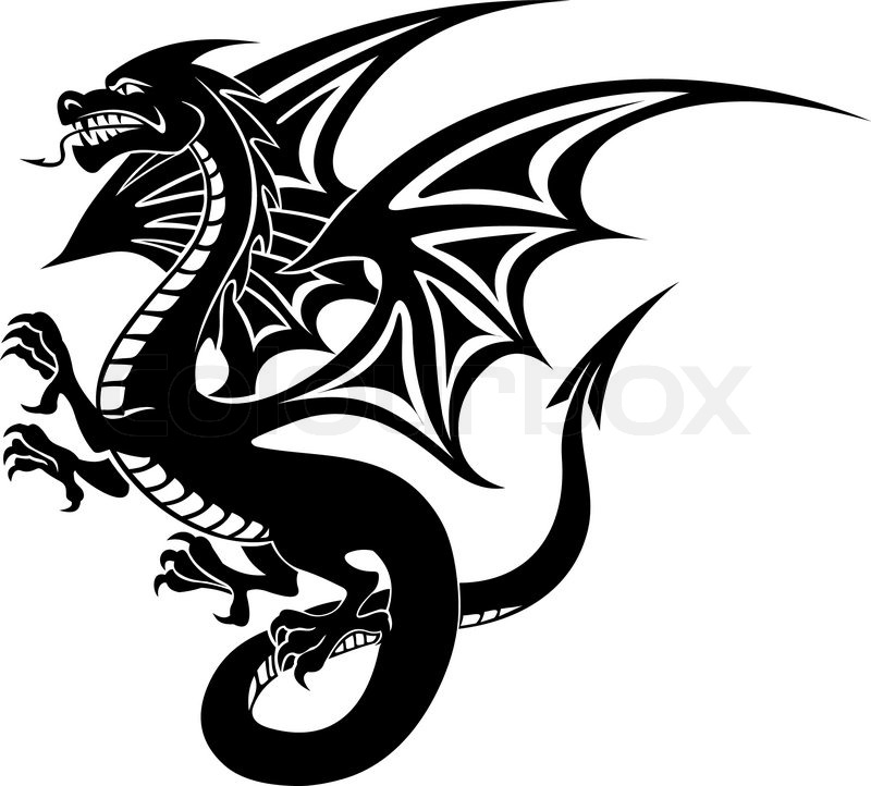 Tattoo Designs White Background: Black Danger Dragon Tattoo Isolated On ...