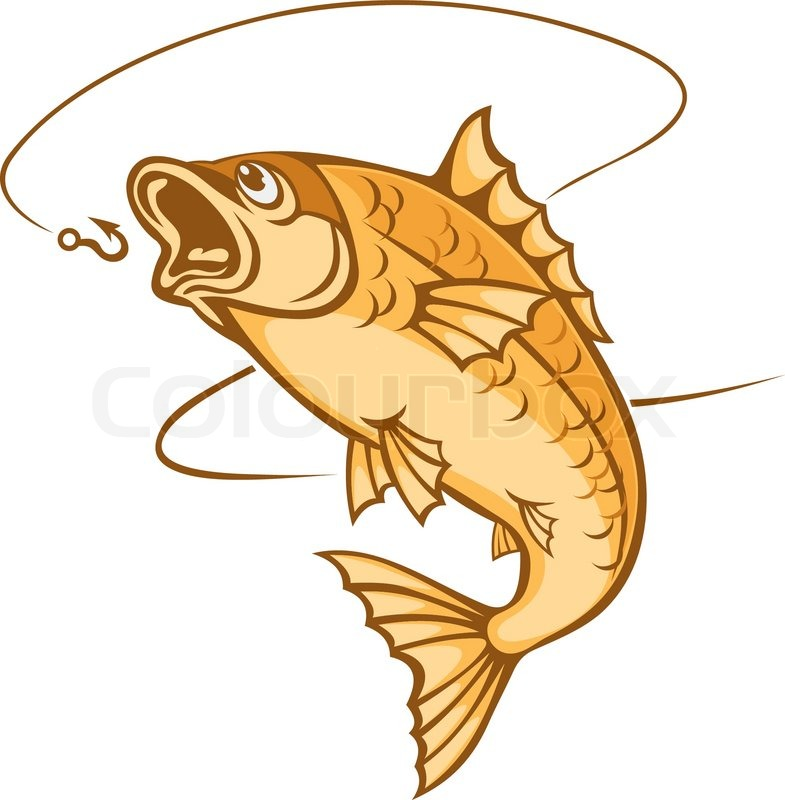 Catching Fish On Hook For Fishing Stock Vector Colourbox