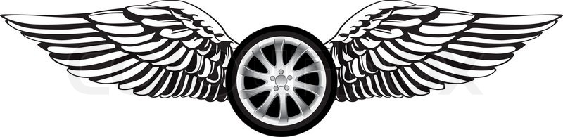 Wheel With Angel Wings As A Racing Symbol Or Emblem Stock Vector