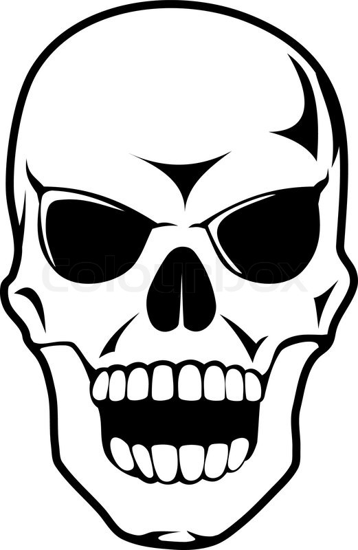Black skull in cartoon style for tattoo design or death concept ...