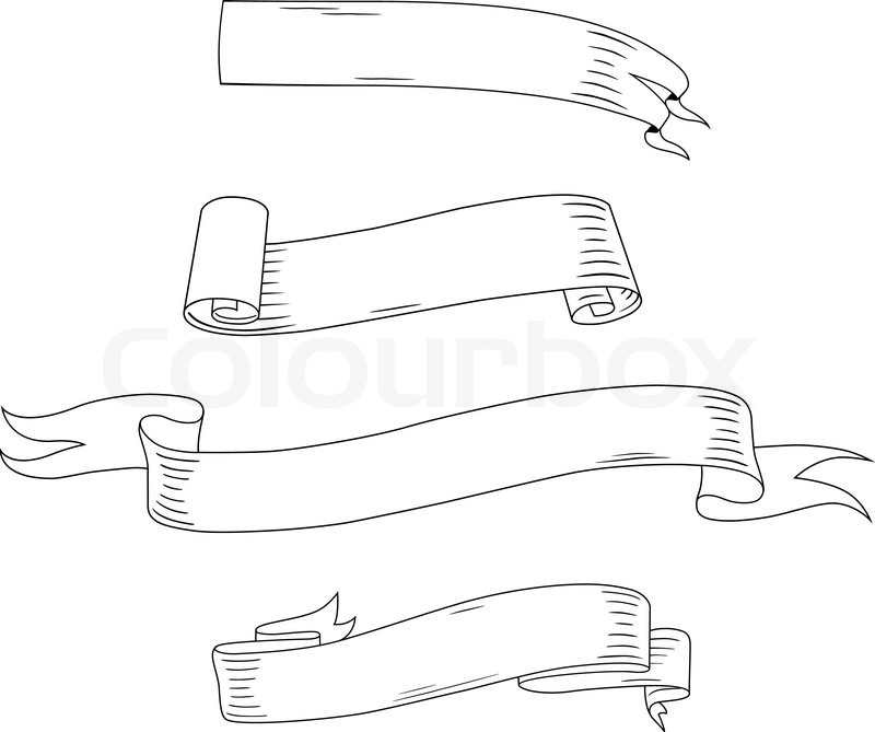 medieval ribbons and banners set isolated on white background