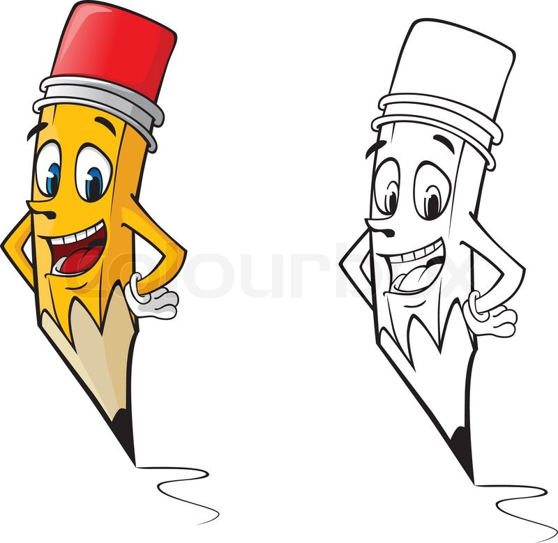 Pencil Drawing Images Cartoons: Cartoon Pencil In Color And Outline Version