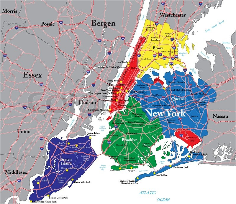Highly detailed vector map of New York City with the five boroughs ...