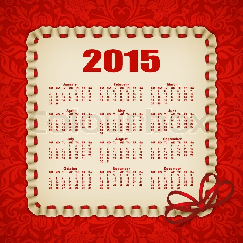 Elegant Template For 2015 Calendar Year With Lace Ornament Frame