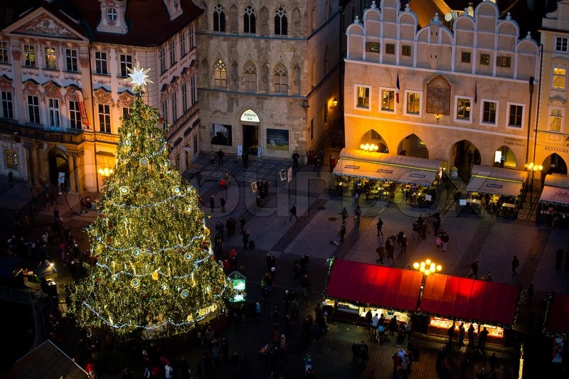 Christmas tree on Old Town Square in Prague from above, stock photo