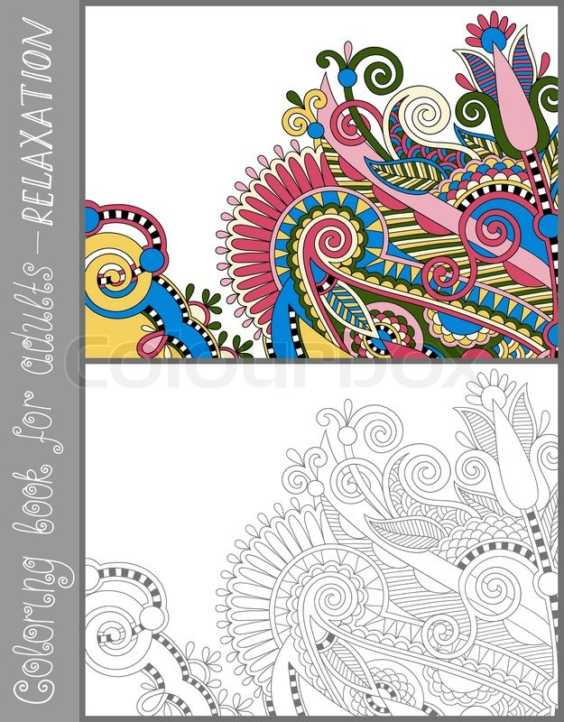 Unique coloring book page for adults flower paisley pattern joy to older children and adult colorists who like line art and creation