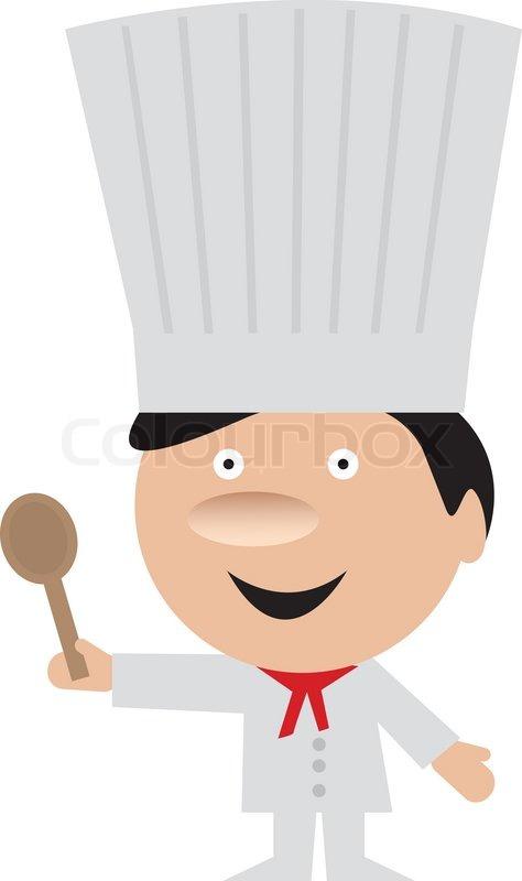 Lustige Koch mit Kochlöffel   Vektorgrafik   Colourbox   {Koch bei der arbeit clipart 93}