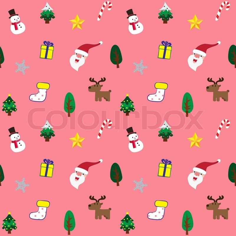 cute christmas theme in pink background seamless pattern stock