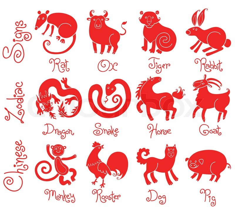 Illustrations Or Icons Of All Twelve Chinese Zodiac Animals Vector