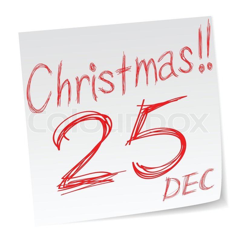Weihnachten Datum.Notieren Sie Sich Weihnachten Datum Stock Vektor Colourbox