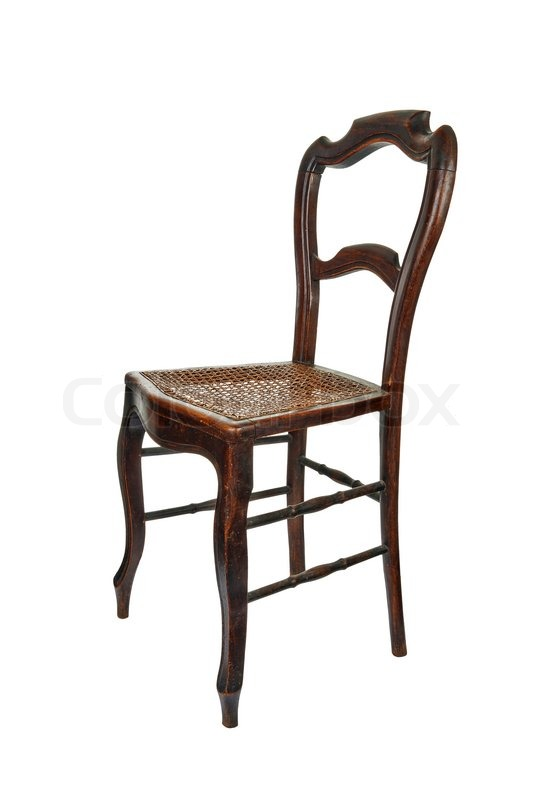 Antique Wooden Chair With Cane Isolated On White   3/4 Front View | Stock  Photo | Colourbox