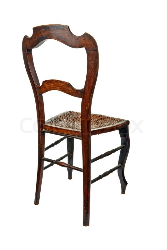 Antique wooden chair with cane isolated on white - 3/4 back view, stock  photo - Antique Wooden Chair With Cane Isolated On White - 3/4 Back View