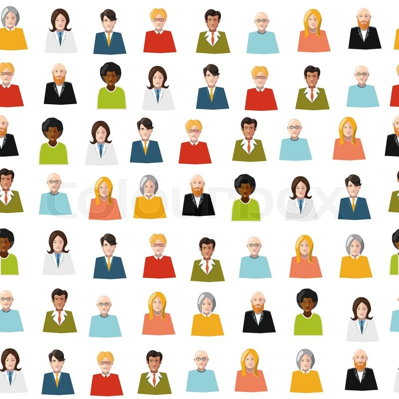 Crowd Of Indian Women Vector Avatars Stock Vector: Crowd Of Color Flat People Avatars Seamless Pattern