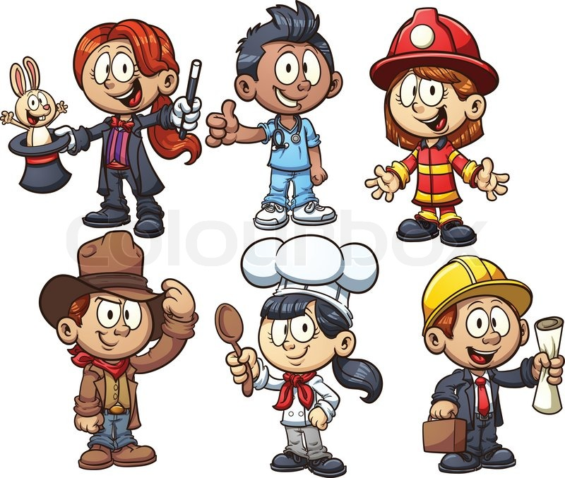 kids using costumes from different occupations vector clip art rh colourbox com halloween costume clipart costume cravate clipart