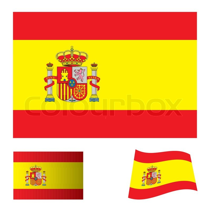 Spanish flag icon with red and yellow     | Stock vector | Colourbox